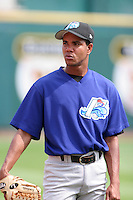 Norfolk Tides Juan Perez during an International League game at Dunn Tire Park on August 6, 2006 in Buffalo, New York.  (Mike Janes/Four Seam Images)
