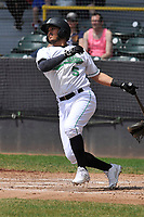 Clinton LumberKings third baseman Eugene Heider (5) swings at pitch during the game against the Bowling Green Hot Rods at Ashford University Field on May 2, 2018 in Clinton, Iowa.  (Dennis Hubbard/Four Seam Images)
