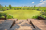 View from villa patio onto soccer field and rice terraces