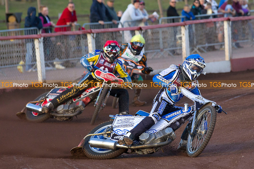 Jack Kingston leads Mark Baldock of Lakeside Young Hammers in heat 4 - Lakeside Young Hammers vs Ipswich Junior Witches - Anglian Junior League Speedway at Arena Essex Raceway, Purfleet - 03/08/12 - MANDATORY CREDIT: Ray Lawrence/TGSPHOTO - Self billing applies where appropriate - 0845 094 6026 - contact@tgsphoto.co.uk - NO UNPAID USE.