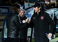Fleetwood Town's manager Joey Barton is greeted by Wycombe Wanderers' manager Gareth Ainsworth (left) <br /> <br /> Photographer Andrew Kearns/CameraSport<br /> <br /> The EFL Sky Bet League One - Wycombe Wanderers v Fleetwood Town - Tuesday 11th February 2020 - Adams Park - Wycombe<br /> <br /> World Copyright © 2020 CameraSport. All rights reserved. 43 Linden Ave. Countesthorpe. Leicester. England. LE8 5PG - Tel: +44 (0) 116 277 4147 - admin@camerasport.com - www.camerasport.com