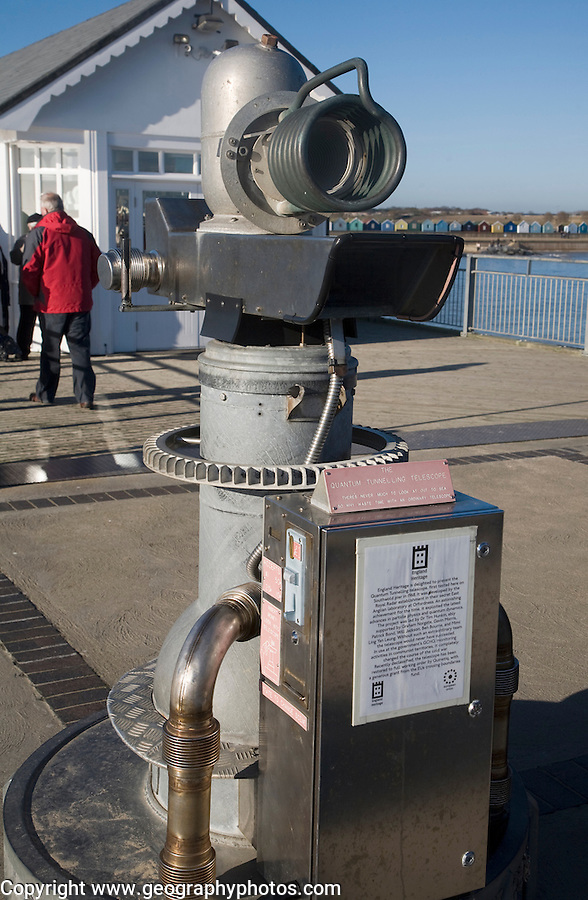 Quirky false invention the 'Quantum Tunnelling telescope' by Tim Hunkin at the end of Southwold pier, Suffolk, England