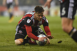 Lee Evans of Sheffield Utd is fouled and holds onto the ball during the championship match at the Bramall Lane Stadium, Sheffield. Picture date 10th April 2018. Picture credit should read: Harry Marshall/Sportimage