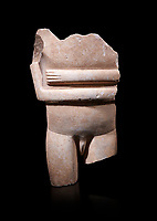 Ancient Greek Cycladic statue torso fragment: Canonical spedos variety , Early Cycladic period II, Syros phase 2800-2300 BC. Cycladic Museum of Art, Athens.   Against black<br /> <br /> Arrtibuted to 'Goulandris Master'.  A very rare unique example of a canonical Spedos variety Cycladic statue of a male. The genetals are carved in the round in a naturalistic manner and unusually the forearms dont touch as in the female figures. This is a totaly unique example of a Cycladic canonical male figure of monumental dimensions.