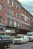 New York: South Street Seaport--Old Fish Markets. Corner Beckman & Front, just across street from Smart Restaurants of Fulton Market Building. Photo '91.