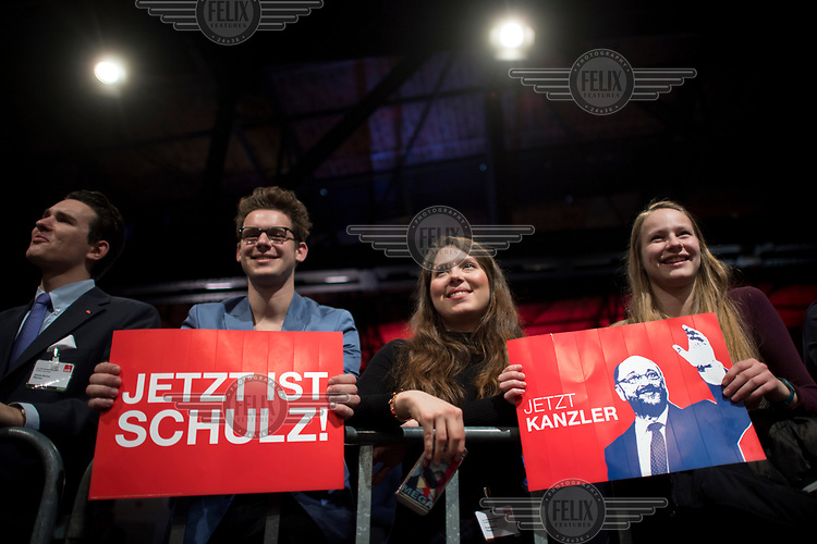Young SPD members listen to their party leader, Martin Schulz, speaking during a party conference. Schulz is the SPD's candidate for chancellor in the 2017 federal election.