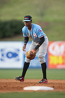 Hickory Crawdads first baseman Ti'Quan Forbes (10) on defense against the Kannapolis Intimidators at Kannapolis Intimidators Stadium on April 10, 2016 in Kannapolis, North Carolina.  The Intimidators defeated the Crawdads 10-3.  (Brian Westerholt/Four Seam Images)