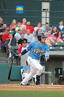 Myrtle Beach Pelicans catcher Victor Caratini (17) at bat during a game against the Salem Red Sox at Ticketreturn.com Field at Pelicans Ballpark on May 5, 2015 in Myrtle Beach, South Carolina.  Myrtle Beach defeated Winston-Salem  6-0. (Robert Gurganus/Four Seam Images)
