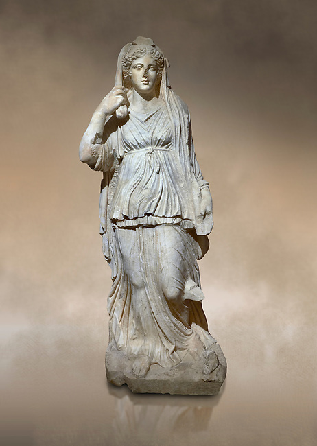 Roman statue of Selene. Marble. Perge. 2nd century AD. Inv no 2014/201. Antalya Archaeology Museum; Turkey.  Against a warm art background.<br /> <br /> Selene is the goddess of the moon. She is the daughter of the Titans Hyperion and Theia; and sister of the sun-god Helios; and Eos; goddess of the dawn. She drives her moon chariot across the heavens.