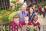 The official opening of the Holy Family Sensory Memorial Garden by Mayor of Tralee Grace O'Donnell as part of Féile na mBláth on Friday. Pictured, front row: Thomas O'Connor, Michael Lacey and Lumgile Tshikota. Back row: Ed O'Brien (Principal) and Mayor of Tralee Grace O'Donnell.