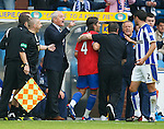 Tim Clancy has a go at Walter Smith after Pedro Mendes sending off