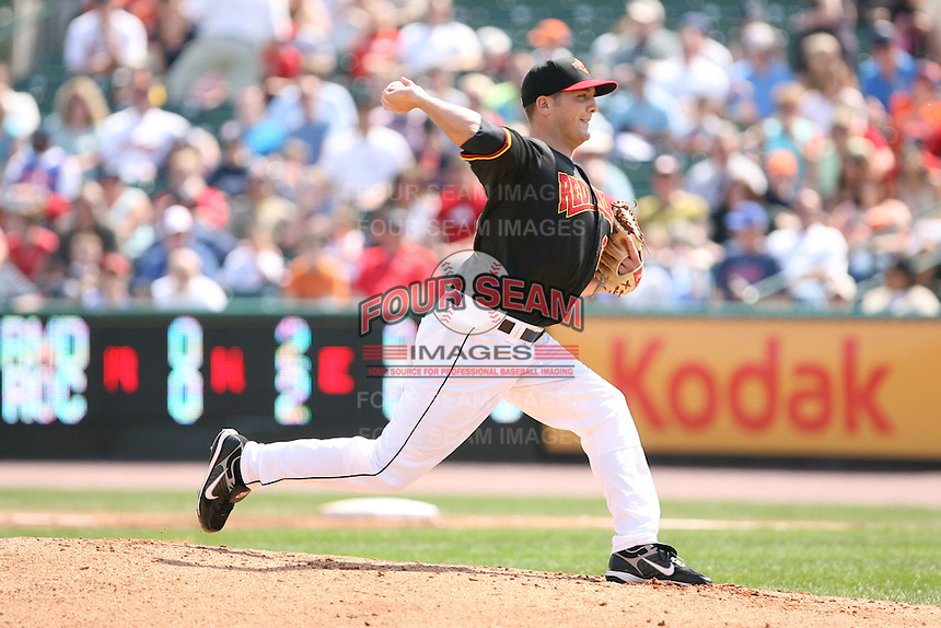 April 17th, 2008:  Pitcher Kevin Mulvey (24) of the Rochester Red Wings, Class-AAA affiliate of the Minnesota Twins, delivers a pitch during a game at Frontier Field in Rochester, NY.  Photo by:  Mike Janes/Four Seam Images