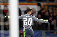 Calcio, andata degli ottavi di finale di Champions League: Roma vs Real Madrid. Roma, stadio Olimpico, 17 febbraio 2016.<br /> Real Madrid's Jese' celebrates after scoring during the first leg round of 16 Champions League football match between Roma and Real Madrid, at Rome's Olympic stadium, 17 February 2016.<br /> UPDATE IMAGES PRESS/Riccardo De Luca