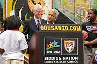 U.S. Soccer President and USA Bid Committee Chairman Sunil Gulati addresses the media during press conference announcing former President Bill Clinton as the honorary chairman of the USA Bid Committee to host the FIFIA World Cup in 2018 or 2022 at the FC Harlem Field in Harlem, NY, on May 17, 2010.