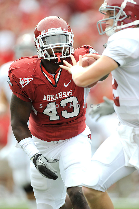 Arkansas Razorbacks Tenarius Wright (43) in action during a game against Alabama on September 25, 2010 at Razorback Stadium in Fayetteville, AR. Alabama beat Arkansas 24-20.