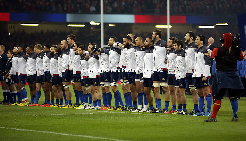 France players line up for their national anthem before the Wales v France, 2016 RBS 6 Nations Championship, at the Principality Stadium, Cardiff, Wales, UK