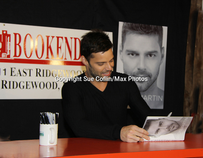 """General Hospital  - Ricky Martin signs his new book """"Me"""" on November 4, 2010 at Bookends, Ridgewood, New Jersey with hundreds of fans standing outside in the rain since early morning. """"Ricky Martin's story is about his enlightening life lessons, the relationships that allowed him to embrace love, and the crucial decisions he has made on the path to becoming the man  - the father - he is today.""""  """"Me"""" is an intimate memoir about the liberating and spirtual passage that turned a young boy names Enrique Martin Morales into far more than just one of the most iconic pop stars of our time."""" (Photo by Sue Coflin/Max Photos)"""