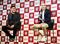 May 24, 2018, Tokyo, Japan - Spanish midfielder Andres Iniesta of former FC Barcelona speaks before press while Japan's online commerce giant Rakuten president Hiroshi Mikitani (L) looks on as he joins Vissel Kobe of Japan's professional football league J-League in Tokyo on Thursday, May 24, 2018. Vissel Kobe is owned by Mikitani's Rakuten and Rakuten is now uniform sponsor of FC Barcelona.   (Photo by Yoshio Tsunoda/AFLO) LWX -ytd-