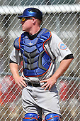 New York Mets minor league catcher Blake Forsythe #17 during a spring training game vs the St. Louis Cardinals at the Roger Dean Complex in Jupiter, Florida;  March 24, 2011.  Photo By Mike Janes/Four Seam Images