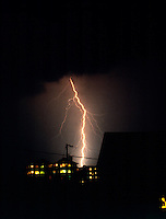WEATHER - Lightning<br /> Duck, NC<br /> Forked lightning occurs when a second lightning stroke doesn't follow the same path as the first lightning stroke.