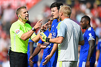Referee Craig Pawson   has words with Harry Maguire of Leicester City and Kasper Schmeichel of Leicester City after awarding a penalty to AFC Bournemouth during AFC Bournemouth vs Leicester City, Premier League Football at the Vitality Stadium on 15th September 2018