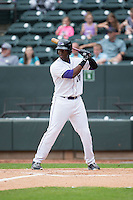 Keon Barnum (20) of the Winston-Salem Dash at bat against the Myrtle Beach Pelicans at BB&T Ballpark on April 18, 2015 in Winston-Salem, North Carolina.  The Pelicans defeated the Dash 4-1 in game one of a double-header.  (Brian Westerholt/Four Seam Images)