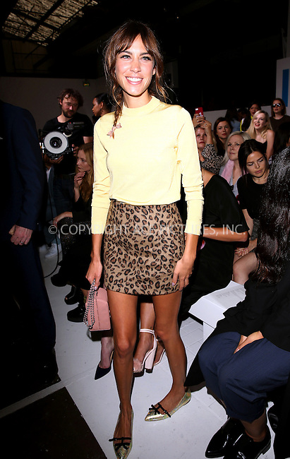 WWW.ACEPIXS.COM<br /> <br /> US SALES ONLY<br /> <br /> September 14, 2014, London, England<br /> <br /> Alexa Chung attending the TopShop Unique show during London Fashion Week Spring Summer 2015 on September 14, 2014 in London, England. <br /> <br /> By Line: Famous/ACE Pictures<br /> <br /> ACE Pictures, Inc<br /> Tel: 646 769 0430<br /> Email: info@acepixs.com