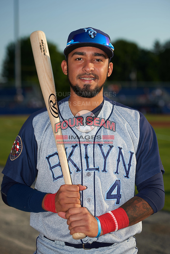 Brooklyn Cyclones Ali Sanchez (4) poses for a photo before a game against the Batavia Muckdogs on July 5, 2016 at Dwyer Stadium in Batavia, New York.  Brooklyn defeated Batavia 5-1.  (Mike Janes/Four Seam Images)