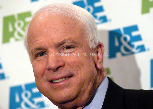 WWW.ACEPIXS.COM . . . . . ....NEW YORK, MAY 25, 2005....John McCain poses for the camera at the premire of the new A&E movie of the story of John McCain's experience as a Vietnam War POW. ....Please byline: KRISTIN CALLAHAN - ACE PICTURES.. . . . . . ..Ace Pictures, Inc:  ..Craig Ashby (212) 243-8787..e-mail: picturedesk@acepixs.com..web: http://www.acepixs.com