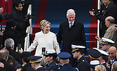 Former President Bill Clinton and wife Hillary Clinton walk down the steps during the Inauguration Ceremony of President Donald Trump on the West Front of the U.S. Capitol on January 20, 2017 in Washington, D.C.  Trump became the 45th President of the United States.      <br /> Credit: Pat Benic / Pool via CNP