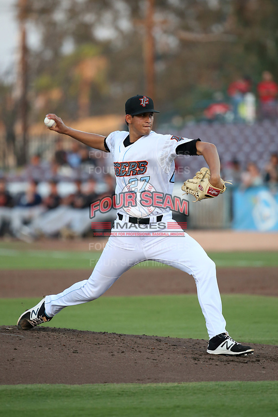 Jesus Castillo (8) of the Inland Empire 66ers pitches against the Modesto Nuts at San Manuel Stadium on June 2, 2017 in San Bernardino, California. Inland Empire defeated Modesto, 7-2. (Larry Goren/Four Seam Images)