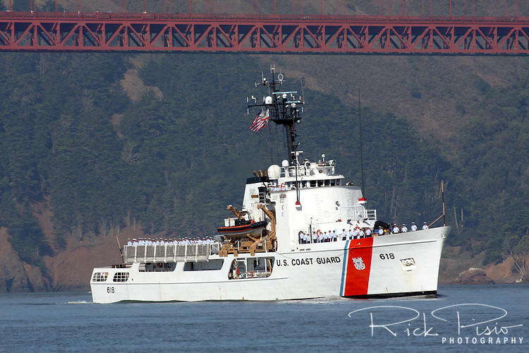 The United States Coast Guard Cutter Active (WMEC-618) passes under the Golden Gate Bridge as part of the 2010 San Francisco Fleet Week Parade of Ships. The Active is the seventh Coast Guard vessel to bear the name. She was launched at Sturgeon Bay, Wisconsin on July 31, 1965 and officially Commissioned as a Coast Guard Cutter on September 1, 1966.