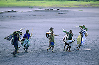 Members of the John Frum cargo cult leaving Sulphur Bay, Tanna, Vanuatu.