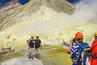 Tourists on a sightseeing tour of White Island Volcano, an active volcano in the Bay of Plenty, North Island, New Zealand
