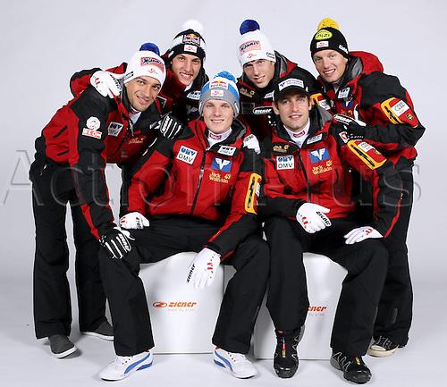 16.10.2010  Winter sports OSV Einkleidung Innsbruck Austria. Ski Nordic Ski jumping OSV Austrian Ski Federation. Picture shows Wolfgang Loitzl Gregor Schlierenzauer Lukas Mueller David Zauner rear Thomas Morgenstern and Andreas Kofler AUT front