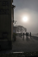Varese. Lombardia. ITALY. General View. Varese Rowing Club. [Canottieri Varese] Crews congregate, waiting for the mist to lift a bit before boating<br /> <br /> Thursday  22/12/2016 <br /> <br /> [Mandatory Credit; Peter Spurrier/Intersport-images]