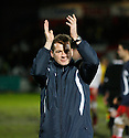 Stevenage manager Graham Westley applauds the fans after victory in the  Blue Square Premier match between Stevenage Borough and Oxford United at the Lamex Stadium, Broadhall Way, Stevenage on Saturday 27th March, 2010..© Kevin Coleman 2010 .