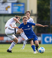 Jake Gallagher of Aldershot Town fouls Luke McCormick of Chelsea U23 during the pre season friendly match between Aldershot Town and Chelsea U23 at the EBB Stadium, Aldershot, England on 19 July 2017. Photo by Andy Rowland / PRiME Media Images.