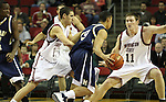 Klay Thompson (#1) and Aron Baynes (#11) play tough defense for Washington State University during a game on December 13, 2008, at Key Arena in Seattle, Washington, against Montana State.  Baynes and Thompson and the rest of their Cougar teammates defeated Montana State 70-51.
