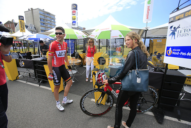 Tony Gallopin (FRA) Lotto-Belisol and his girl relax in the Tour Village in Le Touquet before the start of Stage 4 of the 2014 Tour de France running 163.5km from Le Touquet to Lille. 8th July 2014.<br /> Picture: Eoin Clarke www.newsfile.ie