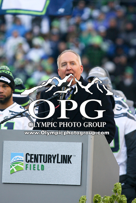 2014-02-05:  Former Seattle Seahawks wide receiver Steve Raible taks to fans during the Super Bowl Ceremony. Seattle Seahawks players and 12th man fans celebrated bringing the Lombardi trophy home to Seattle during the Super Bowl Parade at Century Link Field in Seattle, WA.