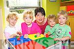Teacher Rós Uí Bhlacail could be confused at the new Gaelscoil Faithleann preschool with double set of identical twins Ali and Cara and Charlie and Abbi