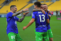 Liberato Cacace celebrates scoring the opening goal during the A-League football match between Wellington Phoenix and Western United FC at Sky Stadium in Wellington, New Zealand on Friday, 21 February 2020. Photo: Dave Lintott / lintottphoto.co.nz