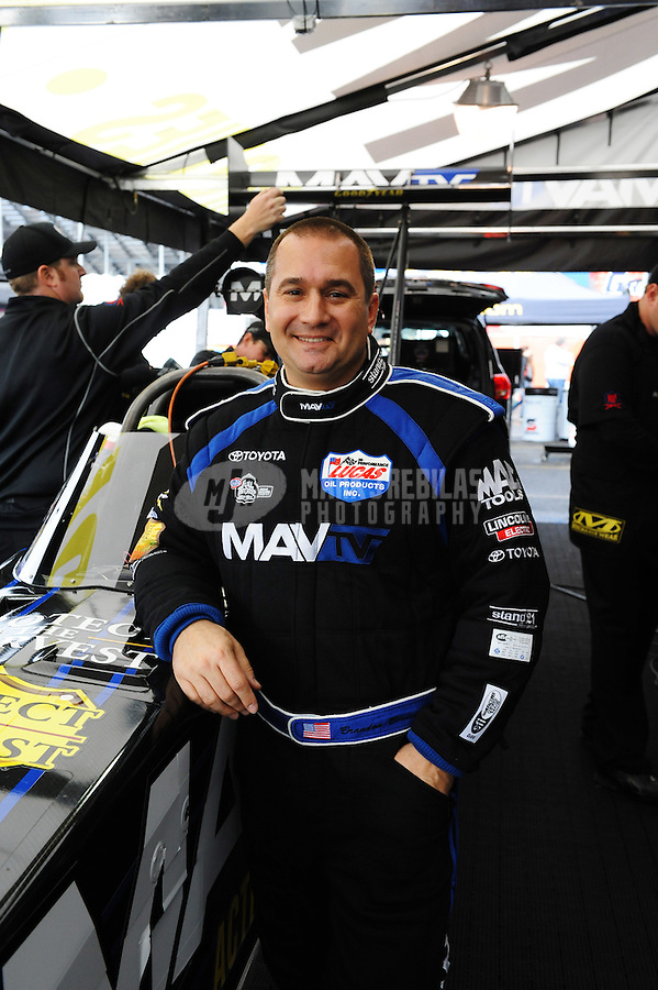 Feb. 12, 2012; Pomona, CA, USA; NHRA top fuel dragster driver Brandon Bernstein during the Winternationals at Auto Club Raceway at Pomona. Mandatory Credit: Mark J. Rebilas-