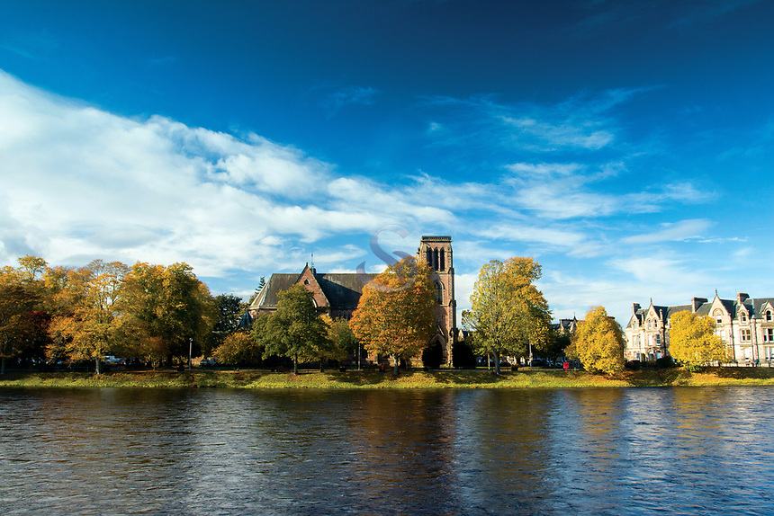 Inverness Cathedral and the River Ness, Inverness, Highland