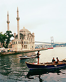 TURKEY, Istanbul, teenage boys on boat with Ortakoy Mosque in the background
