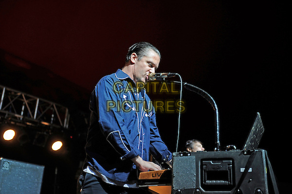 Mike Patton<br /> Tomahawk performing on the Lock Up stage, Reading Festival, Reading, England. <br /> 24th August 2013<br /> on stage in concert live gig performance performing music half length blue shirt  singing profile <br /> CAP/MAR<br /> &copy; Martin Harris/Capital Pictures