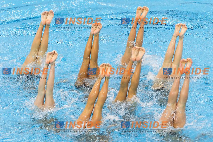 Team GRE<br /> London, Queen Elizabeth II Olympic Park Pool <br /> LEN 2016 European Aquatics Elite Championships <br /> Synchro<br /> Team technical final <br /> Day 01 09-05-2016<br /> Photo Giorgio Perottino/Deepbluemedia/Insidefoto