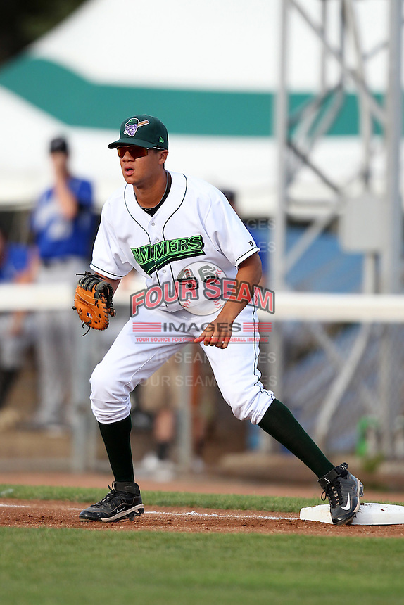 Jamestown Jammers first baseman Viosergy Rosa #46 during a game against the Aberdeen Ironbirds at Russell Diethrick Park on July 27, 2011 in Jamestown, New York.  Jamestown defeated Aberdeen 8-3.  (Mike Janes/Four Seam Images)