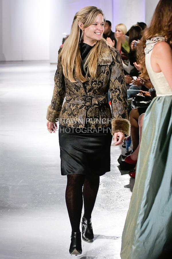 Fashion designer Caroline J Smith, walks runway at the close of her Janie G Couture Spring 2012 collecion fashion show, during BK Fashion Weekend Spring Summer 2012.